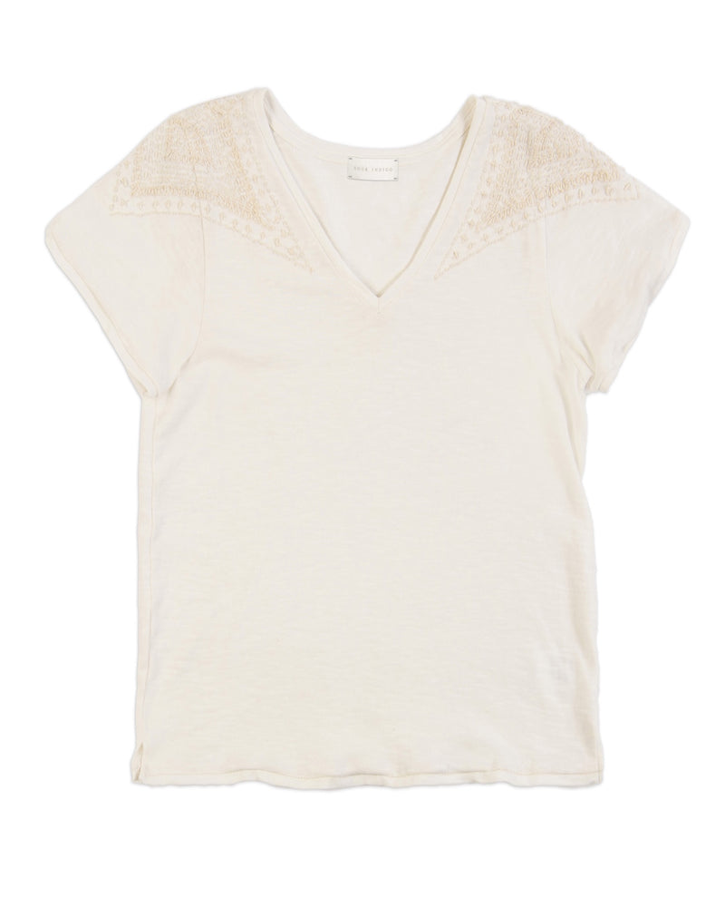 Violet Cotton V-Neck Tee White hand embroidered