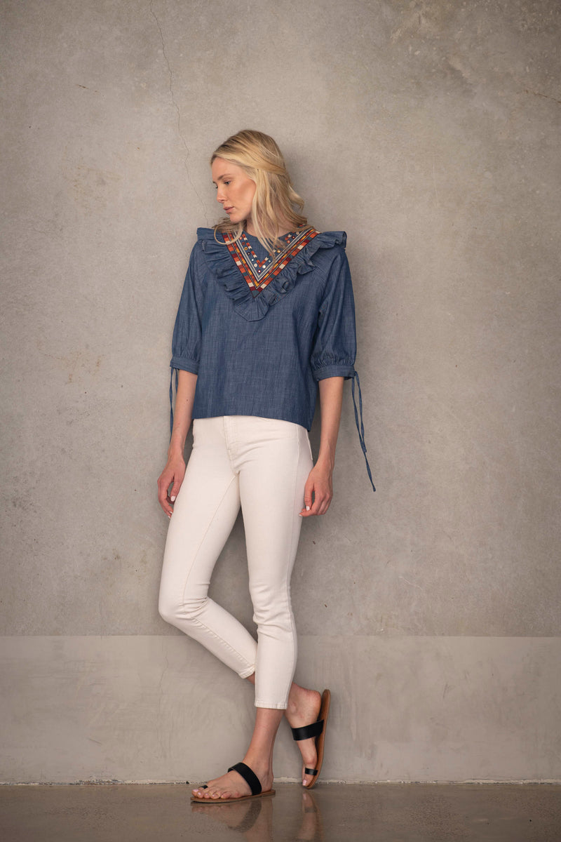 Chambray Ruffle Top by Souk Indigo
