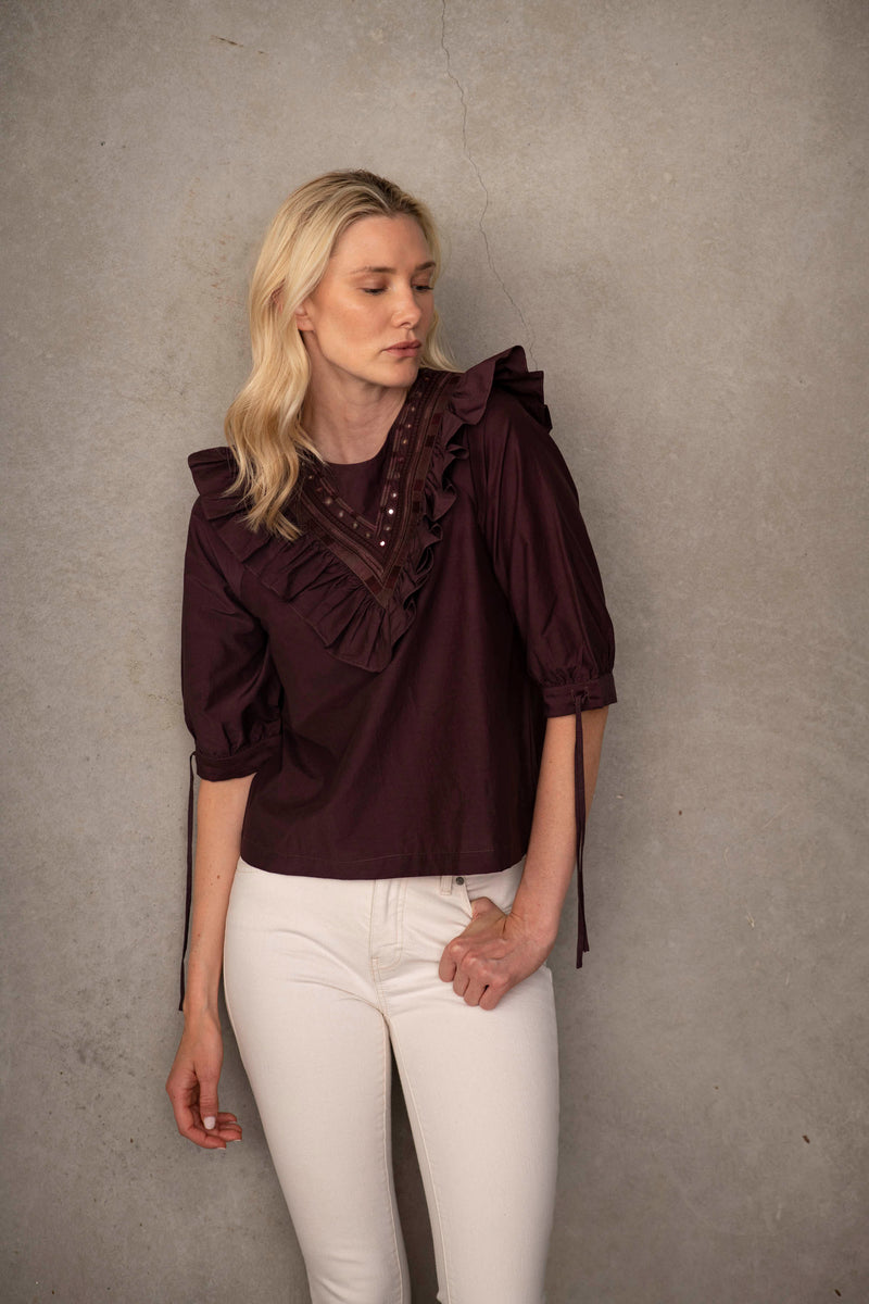 Ruffle Embroidered Top - Luxury Sustainable Fashion
