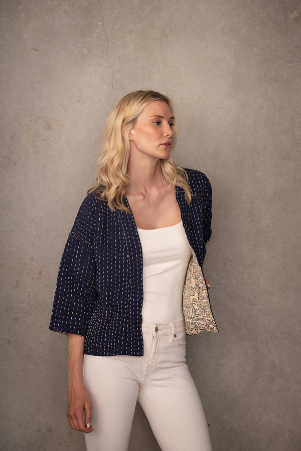 Kantha Stitched - embroidered jacket | Sustainable Luxury Fashion by Souk Indigo