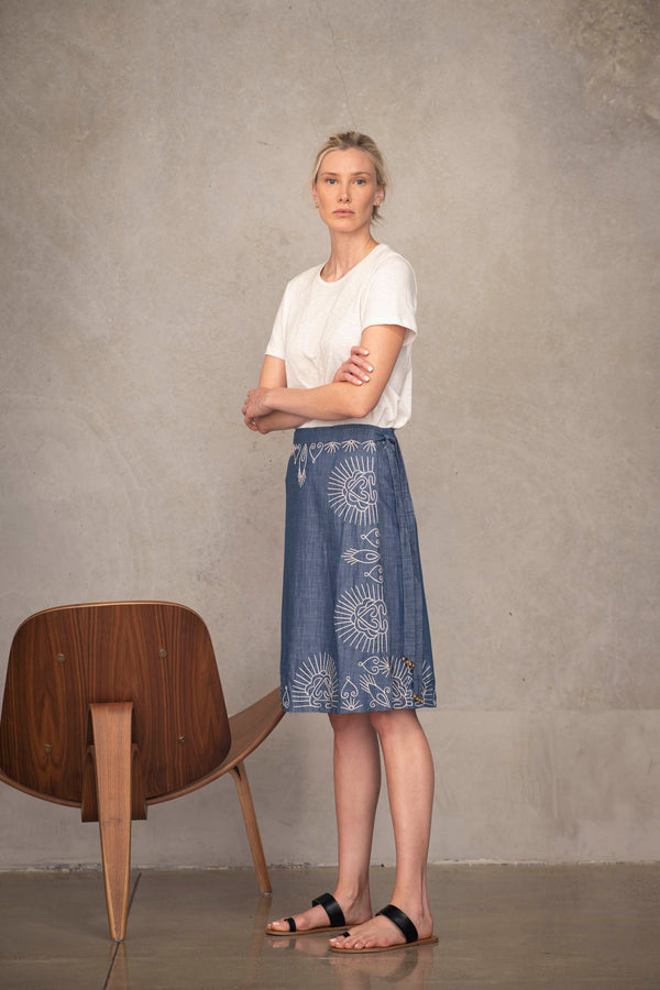 Hand embroidered wrap skirt from Souk Indigo Luxury Fashion