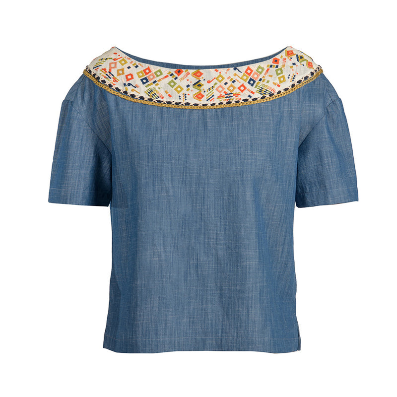 Maya Embroidered Denim Blouse