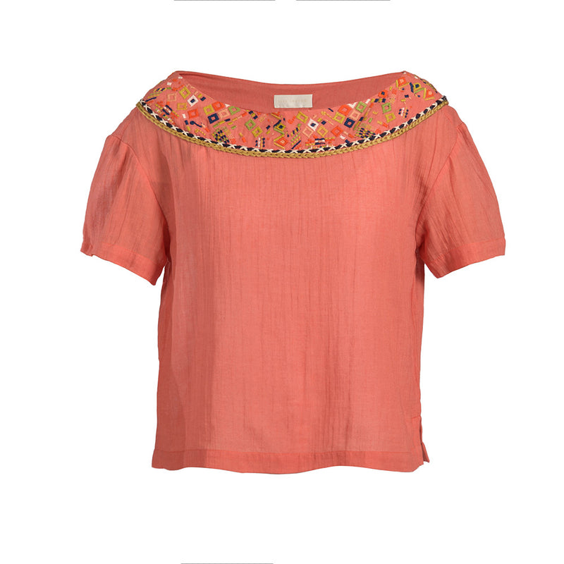 Maya Embroidered Gauze Blouse