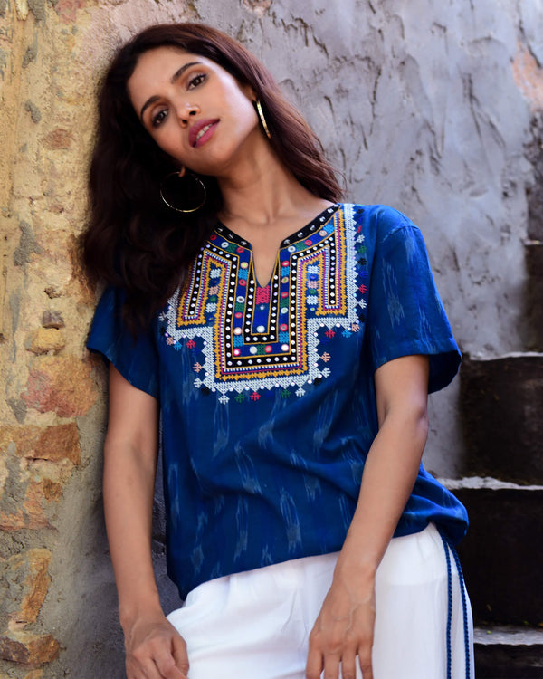 navy blue hand embroidered ikat cotton shirt