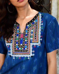 navy blue hand embroidered ikat cotton shirt v-neck