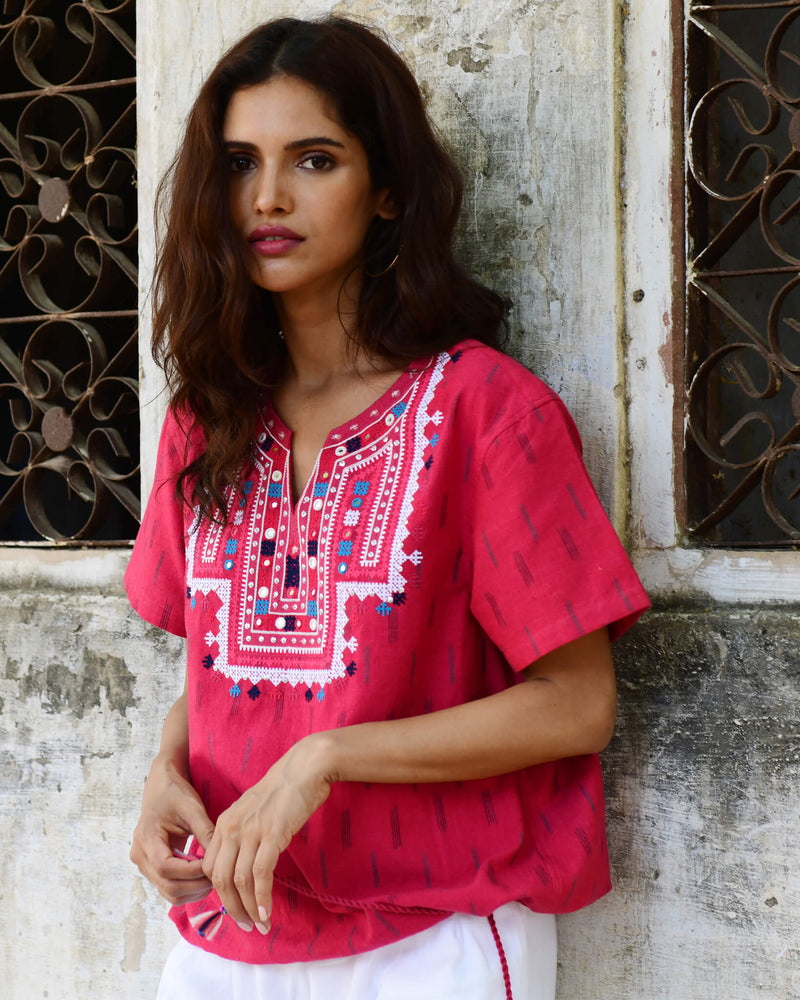 Souk Indigo red hand embroidered ikat cotton shirt
