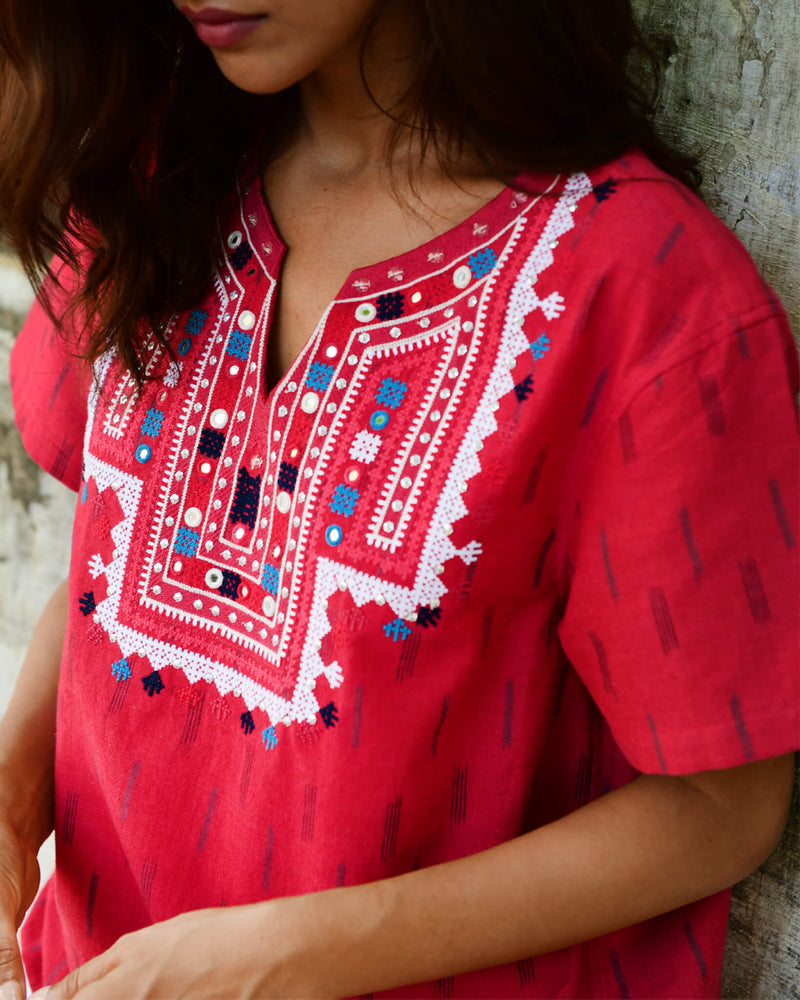 red hand embroidered ikat cotton shirt v-neck