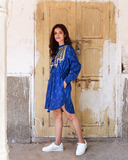 Souk Indigo blue cotton Ikat Clara Dress Indigo