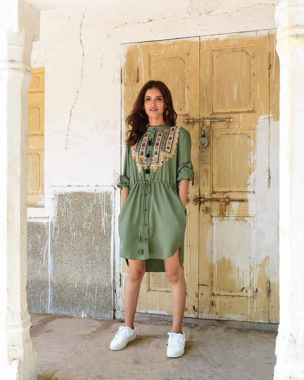 Souk Indigo army green lyocell dress with embroidery