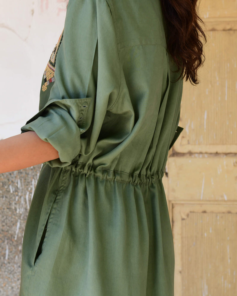 Souk Indigo army green lyocell drawstring dress