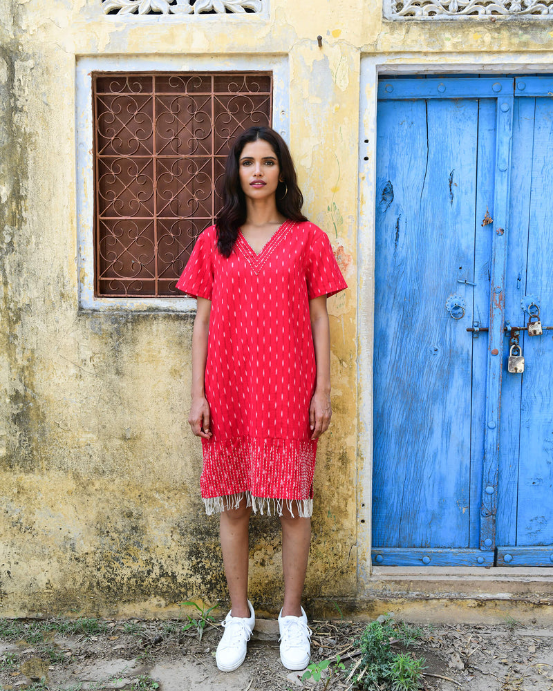 red hand kantha stitched cotton ikat dress