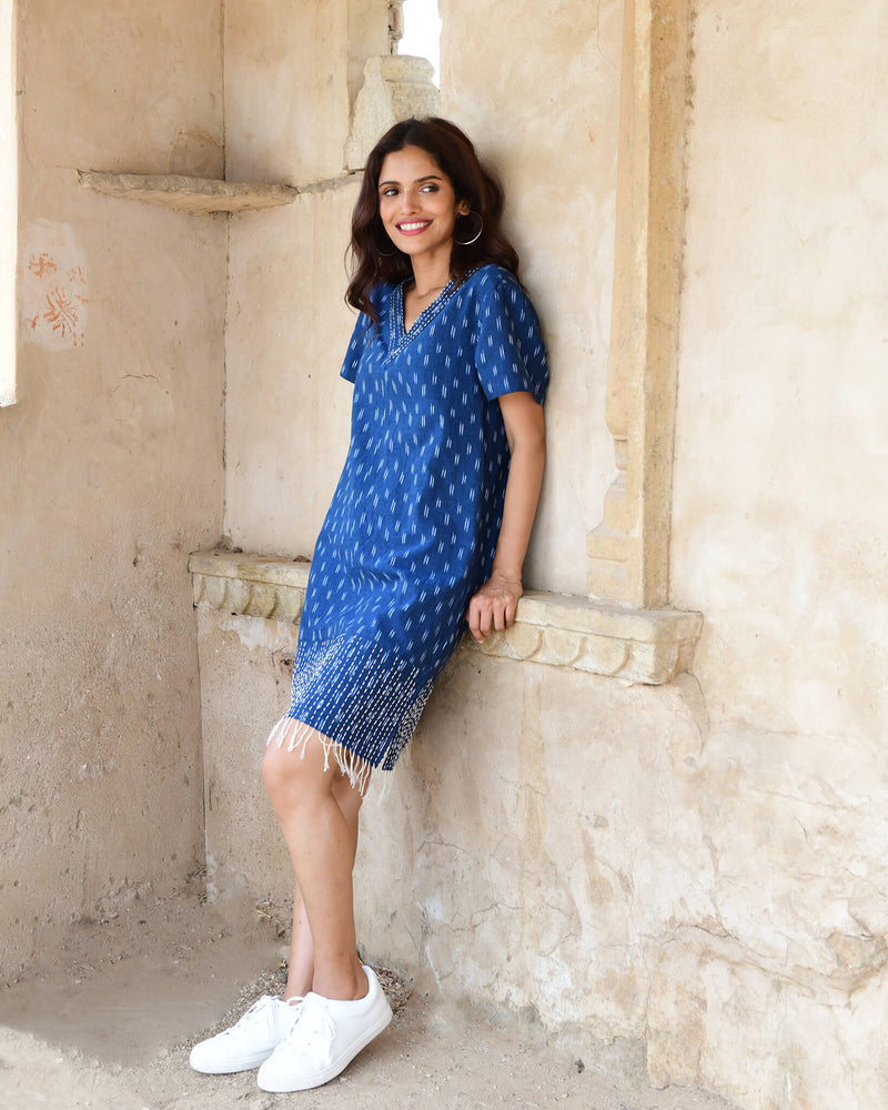 indigo blue hand kantha stitched cotton ikat dress