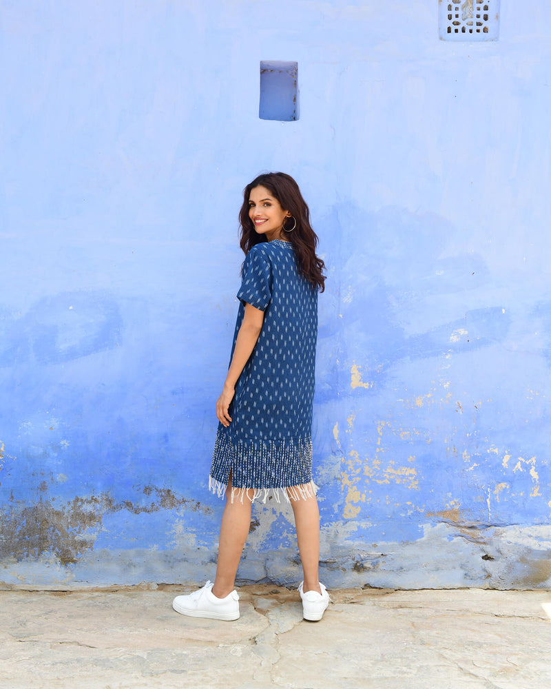 indigo blue hand kantha stitched cotton ikat dress short sleeve