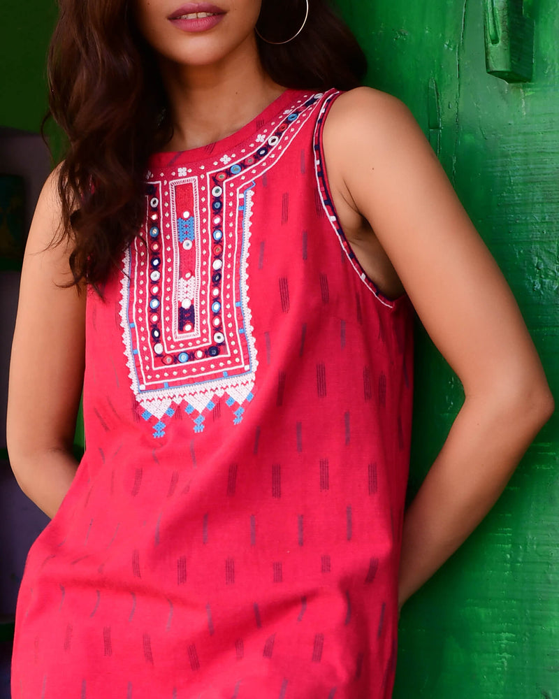 pink cotton ikat embroidered dress