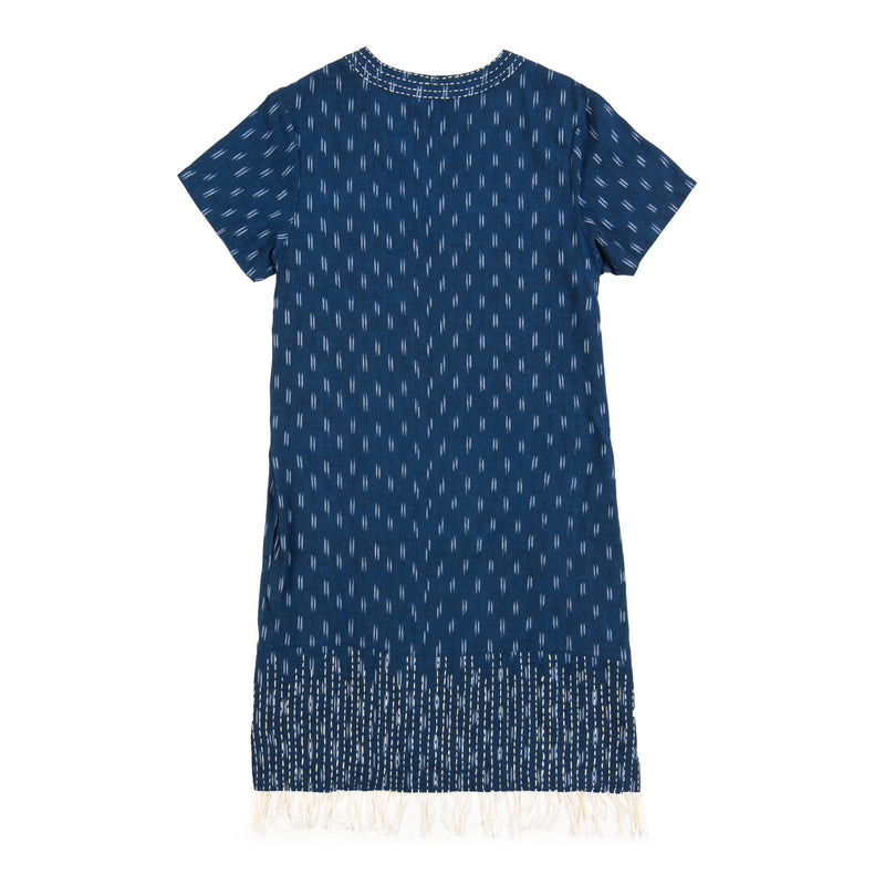 indigo blue hand kantha stitched cotton ikat dress v-neck knee length