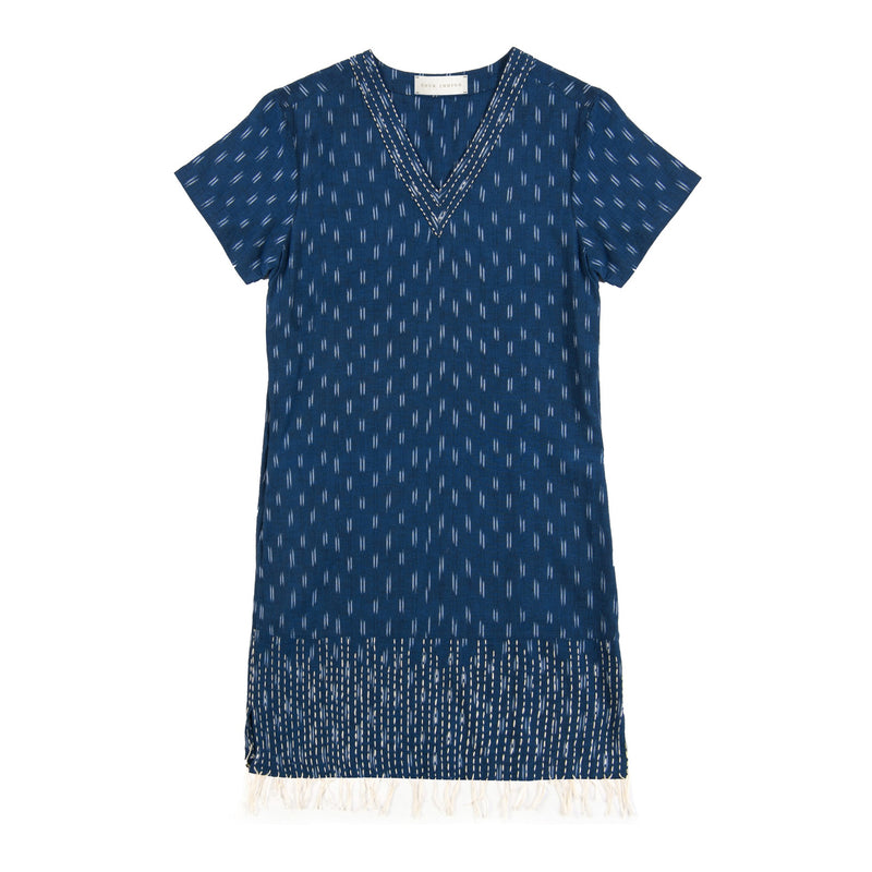 indigo blue hand kantha stitched cotton ikat dress v-neck
