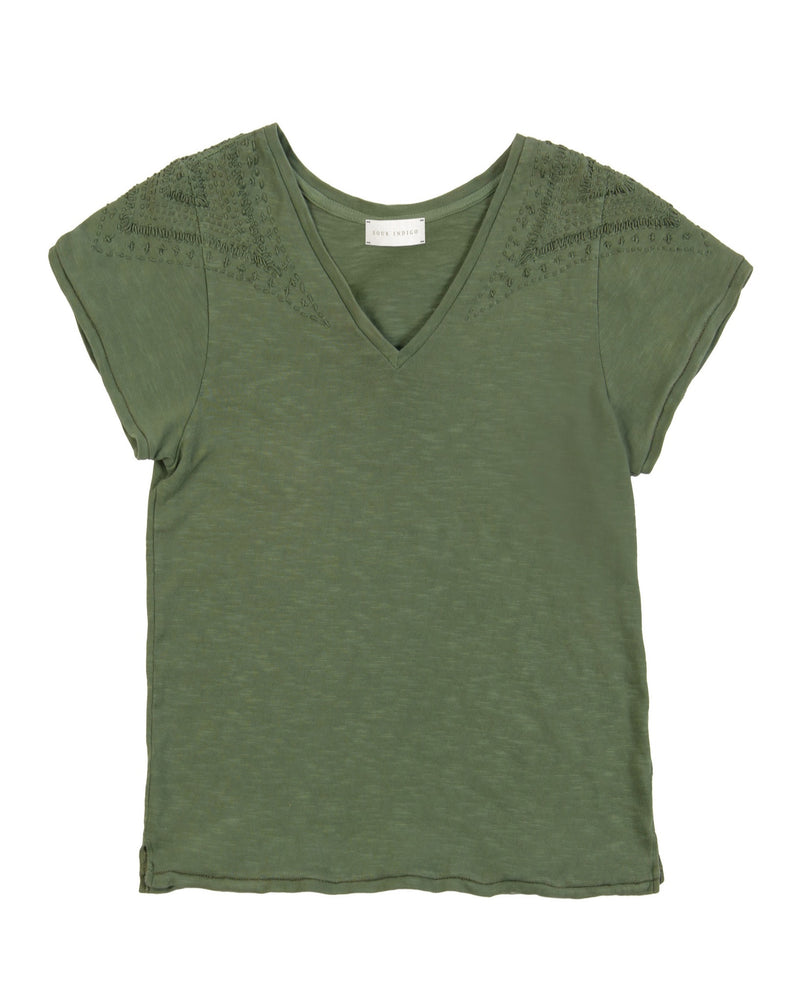 Violet Cotton V-Neck Tee Army green hand embroidered