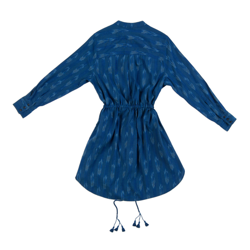 indigo blue drawstring handmade tassel dress