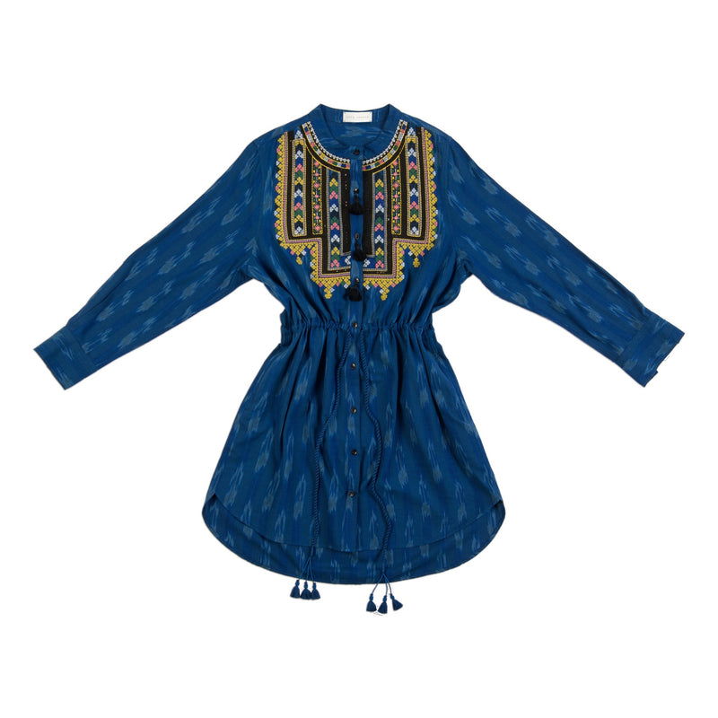 indigo blue drawstring handmade tassel dress with embroidery