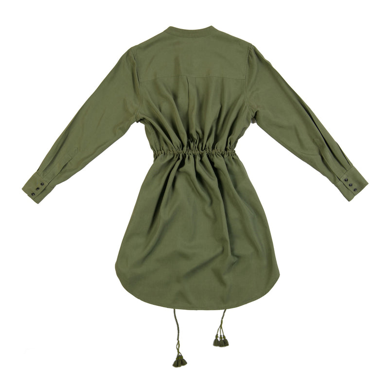 army green lyocell drawstring handmade tassel dress