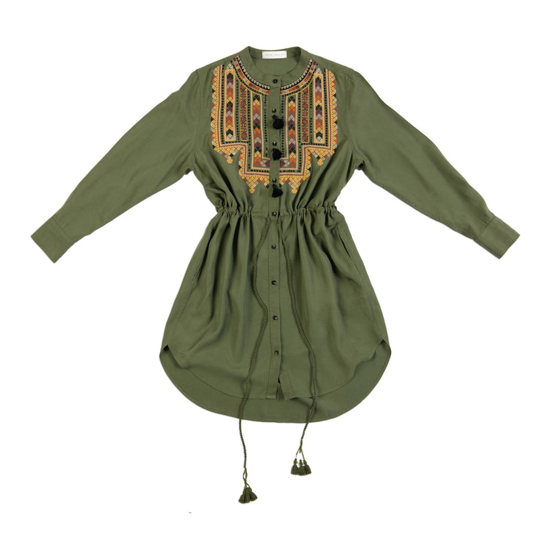 army green lyocell drawstring handmade tassel dress with embroidery