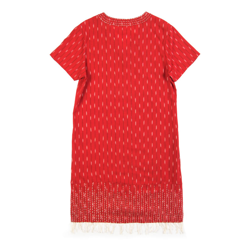 red hand kantha stitched cotton ikat dress v-neck knee length