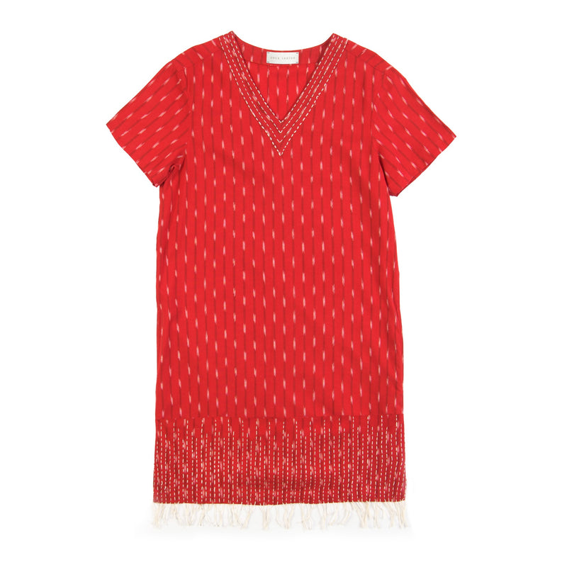 red hand kantha stitched cotton ikat dress v-neck
