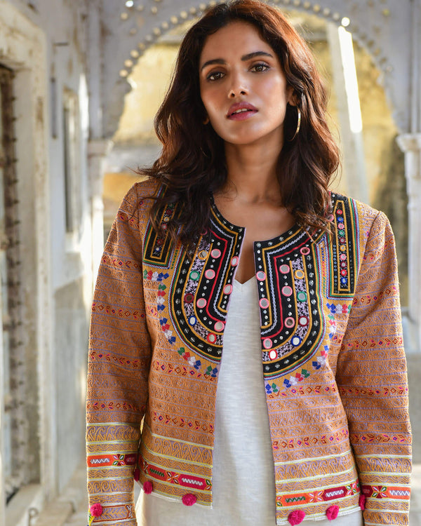 Colorful hand embroidered Vesta Jacket with hand beading