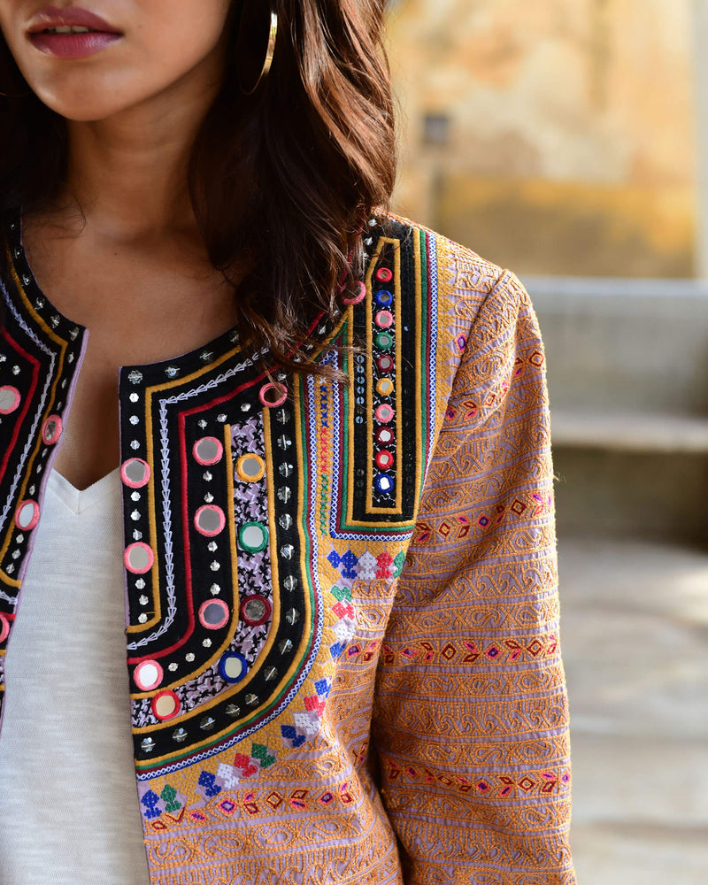 Colorful hand embroidered Vesta Jacket with mirror work