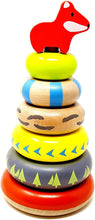 Load image into Gallery viewer, Wooden Stacking Rings Montessori Toy with Fox Topper