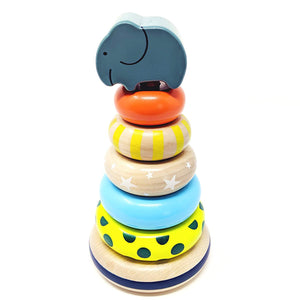 Wooden Stacking Rings Toy with Elephant Topper