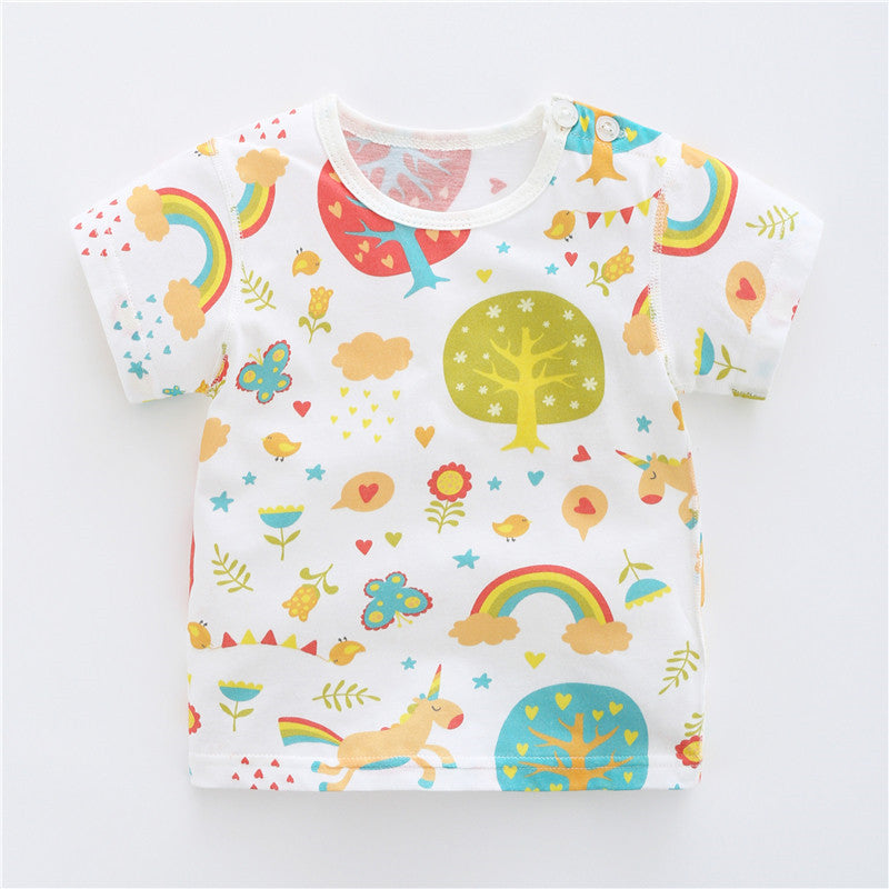 Girls children's clothing baby half sleeve cotton t-shirt