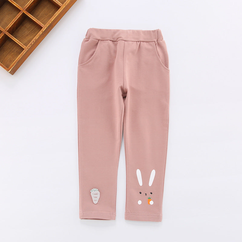 Rabbit print girl pants