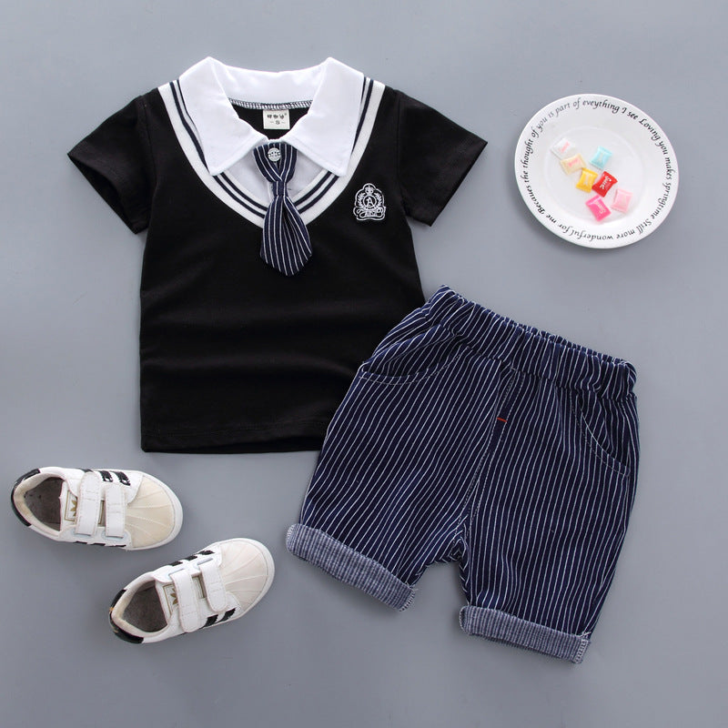 Short-sleeved t-shirt two-piece suit baby heart collar