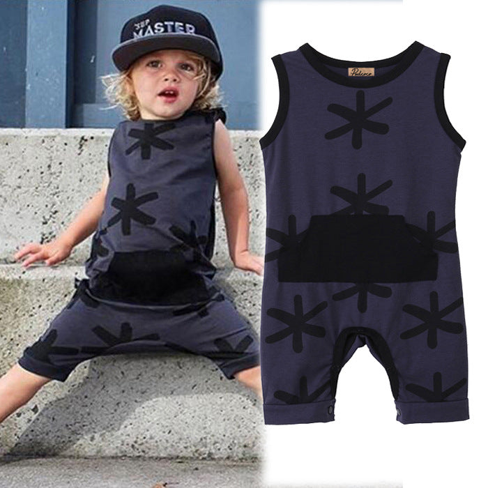 Children's jumpsuit strap sleeveless print sports