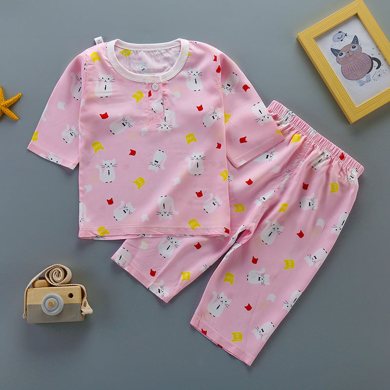 Pajamas set cotton silk thin  girls
