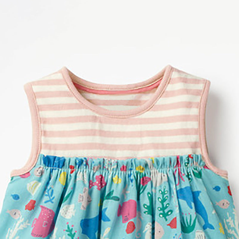 Girls Dress Cotton Striped Floral Short Sleeve