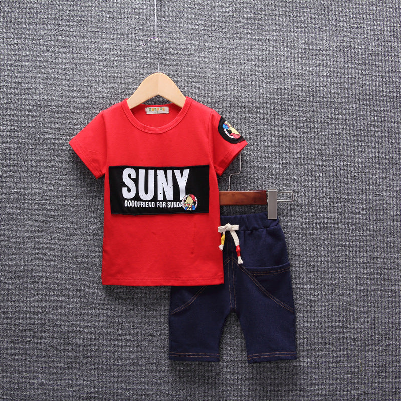 Set Short Sleeve Cotton Boys Infant Tops