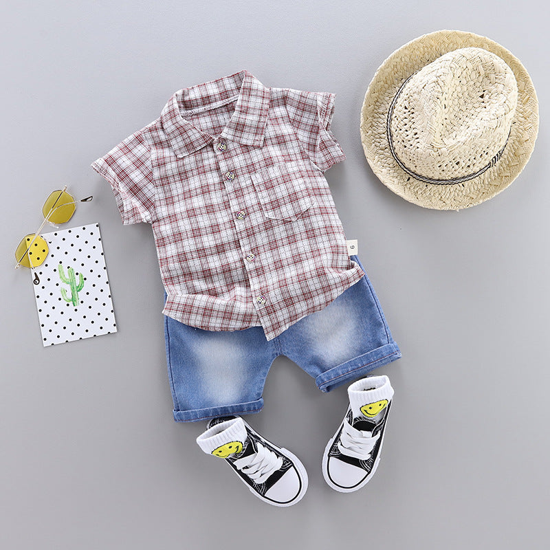 Two-piece shirt set plaid boy casual