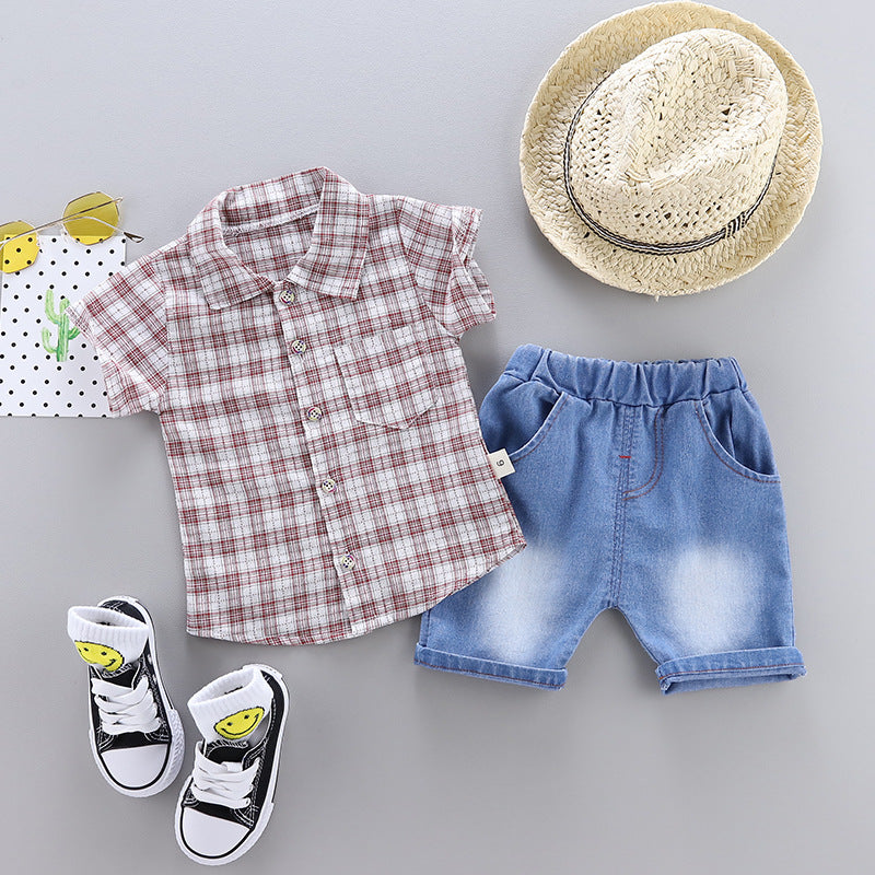 Set Casual shirt plaid two-piece boy baby