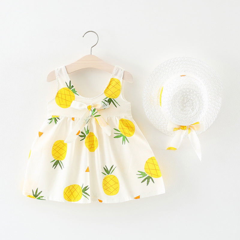 Dress Girls pineapple print skirt with hat