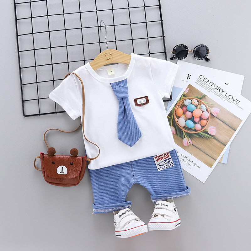 Medium and small children's suit short-sleeved