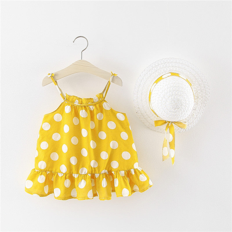 Dress flower-type suspender with hat girls