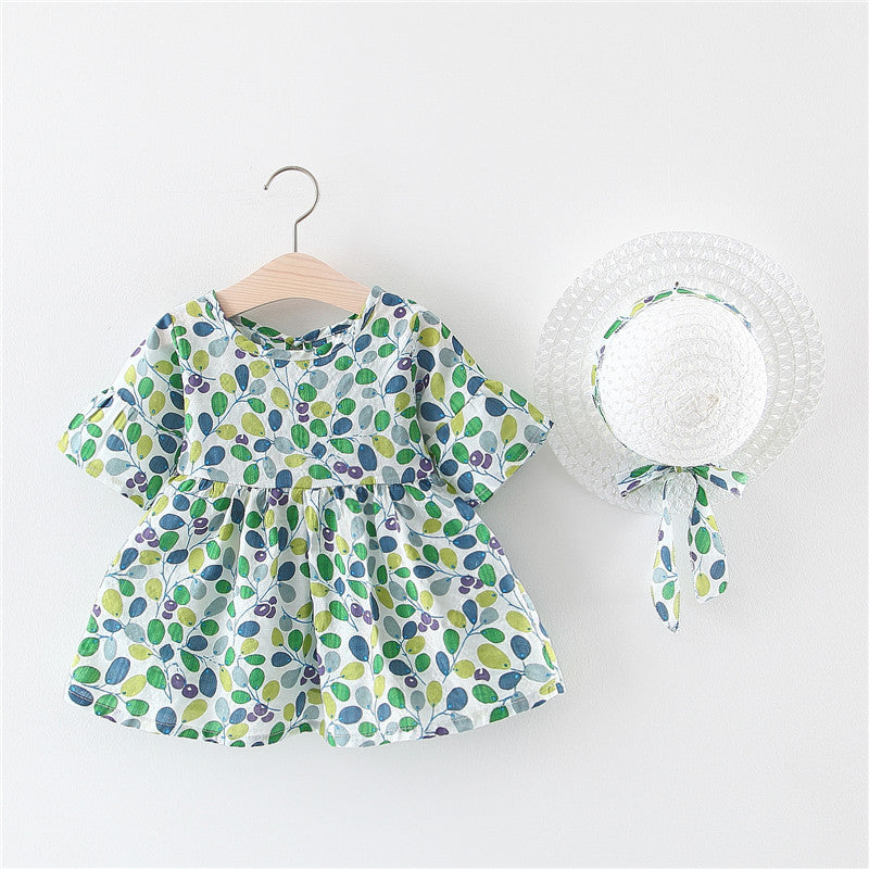 Short sleeve flowery girls dress