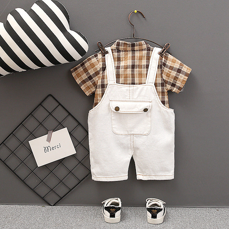 Bib pants set shirt boy short sleeve