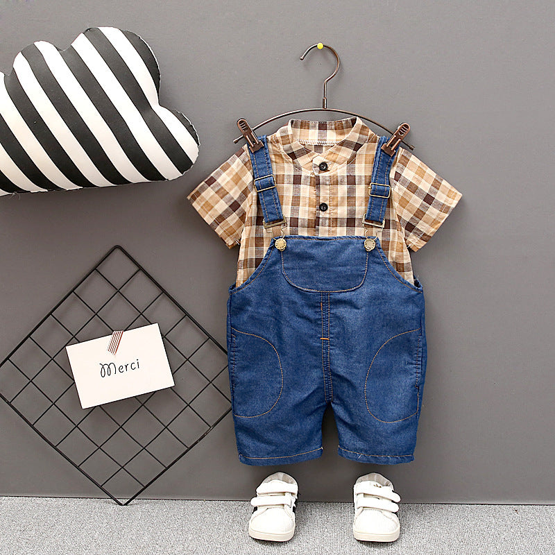 Overalls short-sleeved plaid  casual two-piece suit