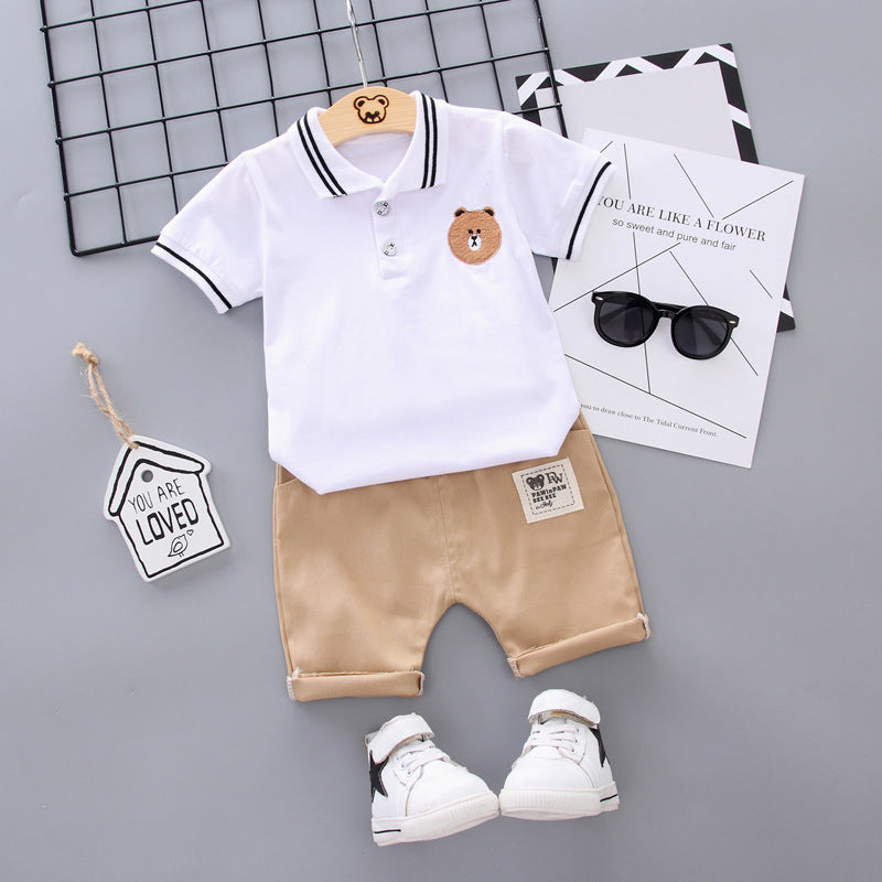 Children's clothes polo shirt two-piece short-sleeved