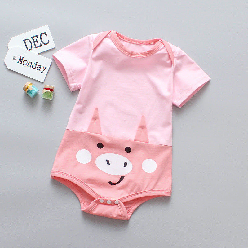 Infant crawling boy cartoon jumpsuit short sleeve