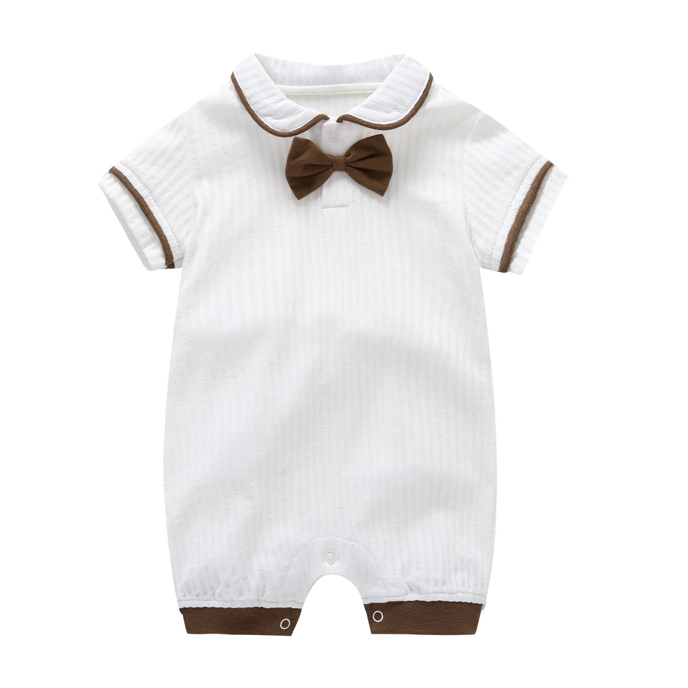 Baby jumpsuit cotton tie newborn short sleeve