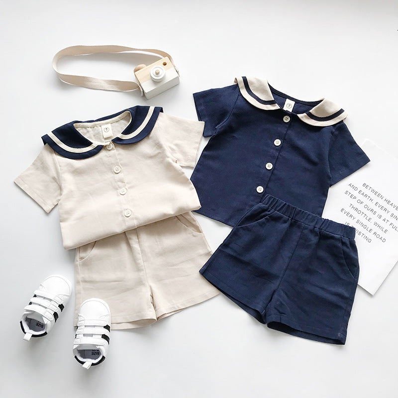 Suit small children cotton short-sleeved